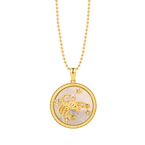SA SILVERAGE 925 Sterling Silver 18K Gold Plated Astrology Constellation Zodiac Necklace Pendant Necklaces 16