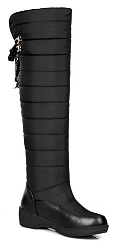 Sfnld Wedges Up the Over Lace Warm Boots Snow Vamp Womens Quilted Low Black Knee UqFnvrAU1w