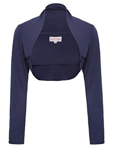 Jersey Shrug (Classic Long Sleeve Jersey Shrug Multi Color (L,Navy Blue))