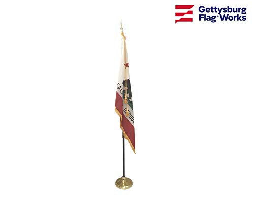 3x5 California Flag Indoor Flag Set, Includes Indoor Flag, Base, Pole, Spear Finial and Decorative Cord and Tassel (Spears Finials)