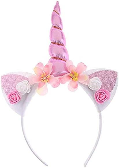 Floral Unicorn Horn Ear Headband Girls Woman Costume Fancy Dress Party Headband