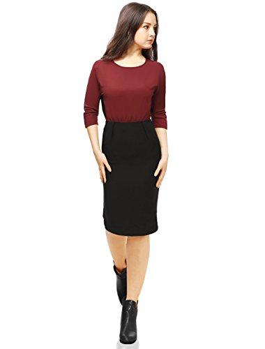 Allegra K Mujer Vestido de Noche Color en Contraste Abertura en la Espalda