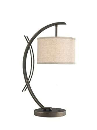 Woodbridge Lighting 13481MEB-S10801 Eclipse 1-Light Table Lamp, 7-1/2-Inch by 21-3/4-Inch, Metallic Bronze