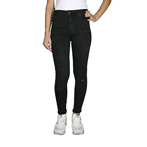 G00146 Bande Borchie e Slim Jeans Strappi Perle Nero Lurex Tina KLIXS Fit con in Donna xpgq6qT0na