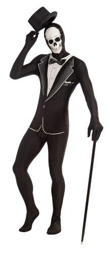 Invisible Man Tuxedo Costume (Forum Novelties Women's Disappearing Man Patterned Stretch Body Suit Costume Skull Tuxedo, Black/White, Medium/Large)