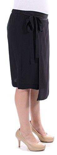 - DKNY Pure Women's Faux-Wrap 100% Silk Pull-On Skirt Medium M Black