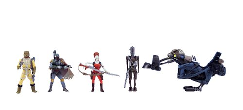 Star Wars Saga Ultimate Bounty Action Figure Set with 4 Figures (Aurra Sing, Bossk, IG-88 and Boba Fett), Swoop Bike and 6 Weapon Accessories ()