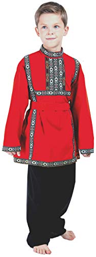 Russian Heritage Boys Costume Outfit Traditional Clothing Top+ Pants (4~8 Years Old, Red) ()