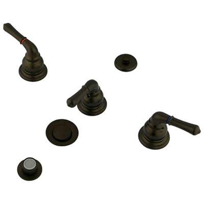 Kingston Brass Magellan Three Handle Bidet Faucet with Brass Pop-up