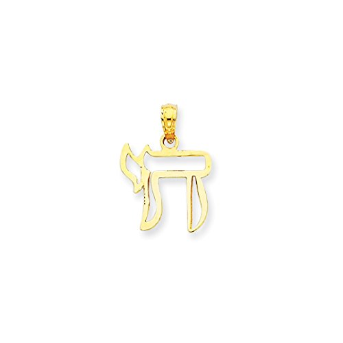 Amazon Black Friday Jewelry Deals 2018-14k Yellow Gold Chai Cut Out Pendant Charm Necklace Religious Judaica Fine Jewelry For Women Gift Set - Yellow Gold Large Chai Pendant