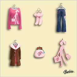 Mini 2006 Ornaments - BARBIE Fashion Minis Miniature Set 2006 Hallmark Ornament QXM3156