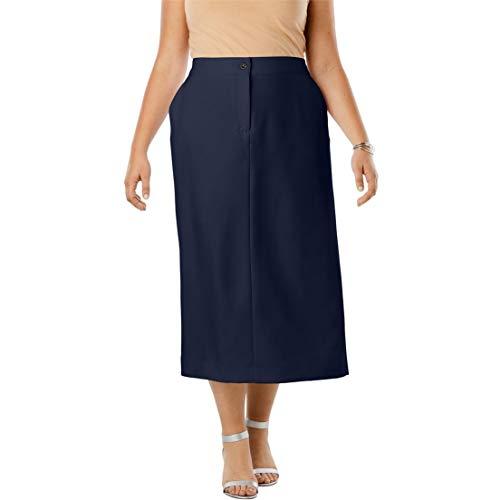 (Jessica London Women's Plus Size Tummy Control Bi-Stretch Midi Skirt - Navy, 24 W)