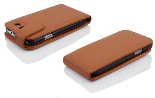 Cadorabo - Funda Flip Style para Samsung Galaxy S3 / S3 NEO (I9300) de Cuero Sintético - Etui Case Cover Carcasa Caja Protección en ROJO-INFIERNO MARRÓN-COGNAC