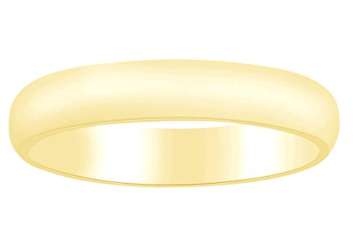Solid 10k Yellow Gold 4mm Comfort Fit Mens Wedding Dome Band Ring Size - 7