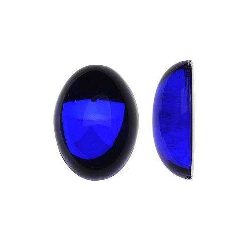Beadaholique Vintage Lucite Plastic Oval Domed Cabochon - Sapphire/Foiled 10x14mm (12) ()