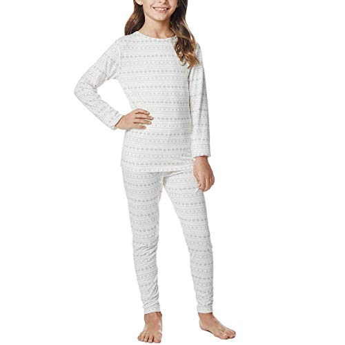 32 DEGREES Weatherproof Big Girl's Base Layer Thermal Shirt Long Underwear Set (X-Small, Vanilla Snow Flake)
