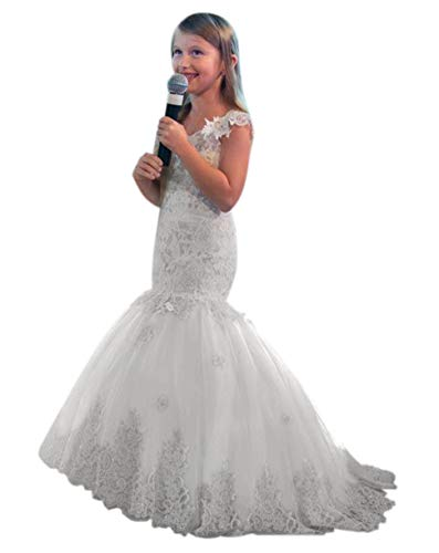 QueenBridal Lace Mermaid Off Shoulder Flower Girl Dresses Kids Pageant Prom Party Dress QB-F17 Ivory ()