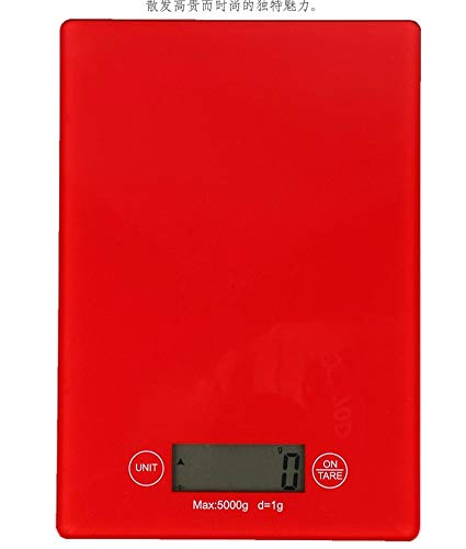 Digital Multifunction Highly Accuracy Food Weight Scale Coffee Scale Kitchen And Food Scale Stainless Steel Finish Easy Clean Tare Function,Red (Convert 3-3 Kg To Lbs And Oz)