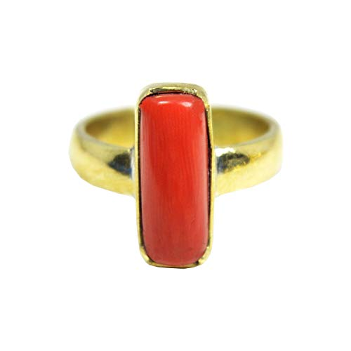 Red Coral Ring 9.00 Ct.(Moonga/Munga Stone Panchadhatu Ring for unisex) Moonga by GEMS HUB (Red)