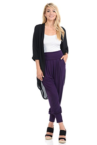 iconic luxe Women's Banded Waist Harem Jogger Pants with Pockets X-Large Eggplant