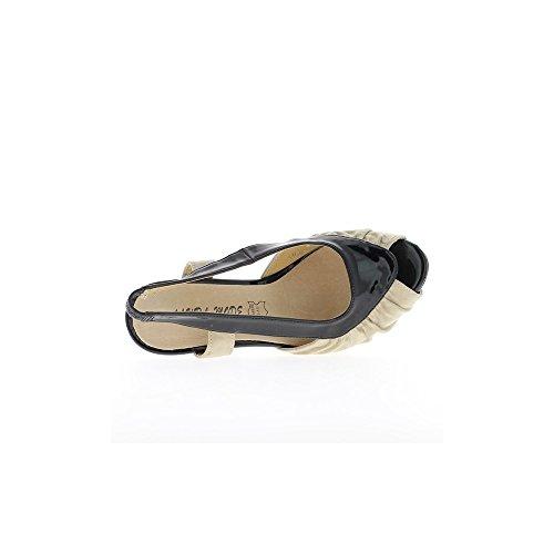 Sandalen Beige und schwarze Frauen 14,5 cm und Plattform Heels