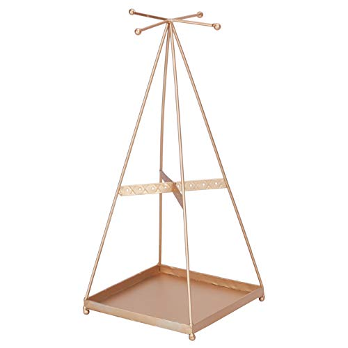 yarshopy 2 Tier Hanging Jewelry Organizer Stand, Jewelry Display Rack with Tray, Decorative T-bar Jewelry Storage for Ring, Necklace, Bracelet and Watches, Gold