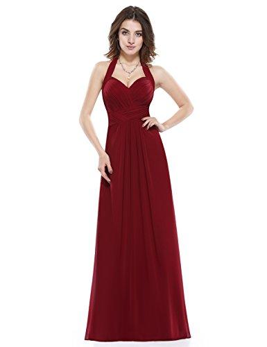 Neckholder Abendkleid Party Rueschen Elegant Maxi 08487 Damen Ever Burgundy1 Lang Pretty H8wZWqI
