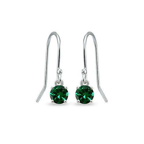 Sterling Silver Simulated Emerald 5mm Round Small Solitaire Dangle Earrings for Women, Teen Girls ()