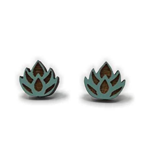 Cute Blue Pastel Lotus Flower Stud Earrings | Tiny Pastel Handmade Post Earrings | Cute Easter Gift for ()