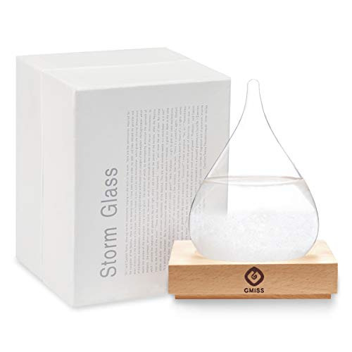 Storm Glass Weatherman, Stylish and Creative Desktop Weather Forecaster with Wooden Base, Small Weather Station for Home and Office (Weather Small Stations For Home)