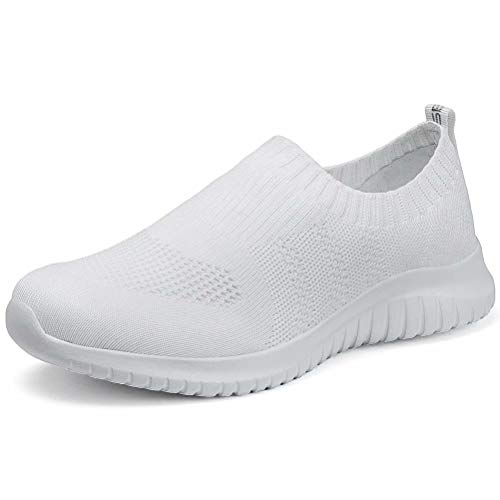 LANCROP Women's Lightweight Walking Shoes - Casual Breathable Mesh Slip On Sneakers 10 US, Label 42 All White