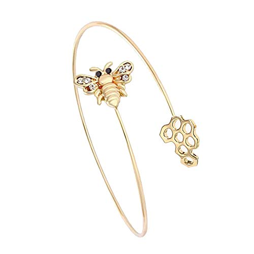 MANZHEN Adjustable Tiny Bumble Bee Queen Bee Cuff Wire Wrapped Bangle Bracelet Insect Jewelry (bee+bee hive-Gold) -