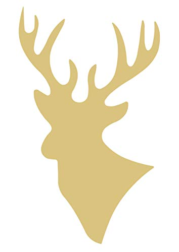 Deer Cutout Unfinished Wood Antlers Caribou Reindeer Forest Animal Buck Doe Zoo MDF Shape Canvas Style 1 -