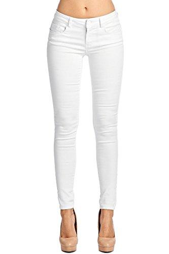 2LUV Women's Stretchy 5 Pocket Skinny Super Comfy Uniform Pants White 7