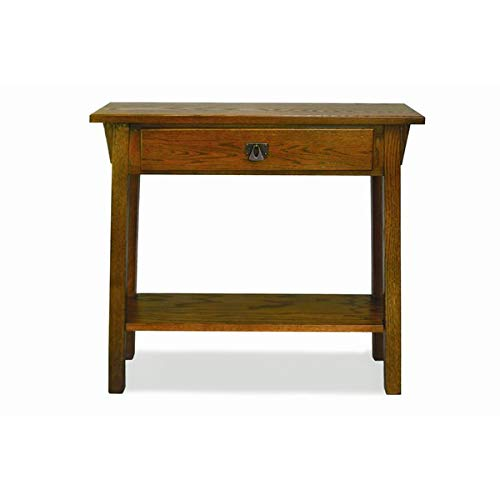Ash Wood End Table - End Table with Drawer and Shelf - (Mission Oak Glass Table)