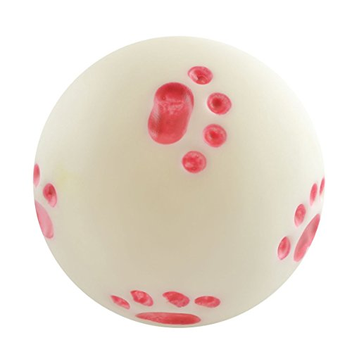 """Dogloveit Dog Ball with Pawprints Rubber Toy with Sound Squeaker Squeaky Toy for Pets Puppies Dogs Cats, 4"""""""