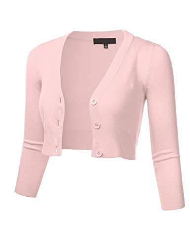 (Women's Solid Button Down 3/4 Sleeve Cropped Bolero Cardigan Sweater Blush 1X)