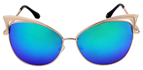 FEISEDY Sexy Cateye Women Sunglasses Metal Frame Flat Mirrored Lens - Glasses Can Just Lenses For You Buy