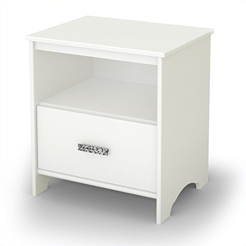 (South Shore Tiara 1-Drawer Nightstand, Pure White with Decorated Handle)