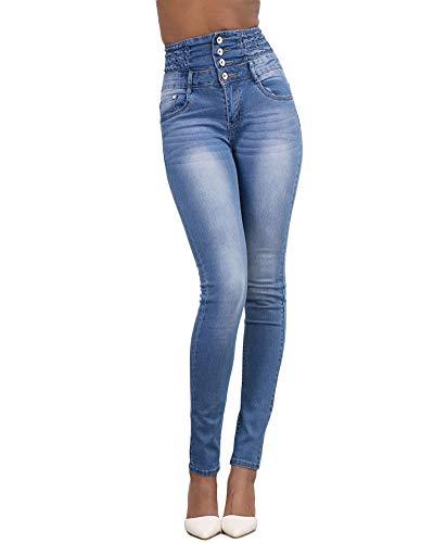 Yonglan Azul Mujer Elástico Lápiz Claro Jeans Fit Slim Alta Pantalones Vaqueros Mezclilla Cintura 66dPrq