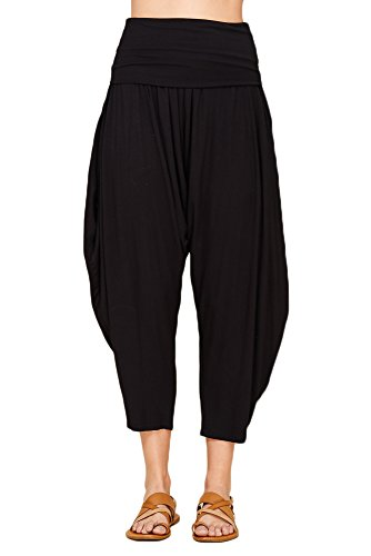 Annabelle Womens High Waisted Fold Over Harem Jogger Pants With Pockets