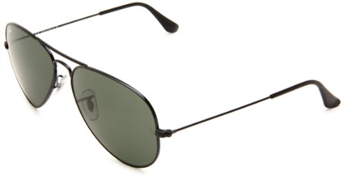 Ray-Ban Aviator Classic, Glossy Black/ Grey Green, One - Womens Black Ray Bans