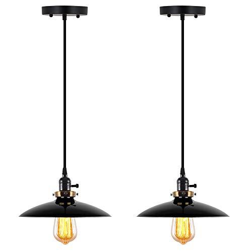 T&A UFO Industrial Pendant Lights Edison Vintage Style,2 Light Kitchen Antique Brass Hanging Lighting Fixture(Black)