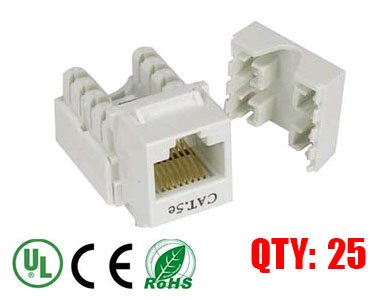 iMBAPrice White Cat5e RJ45 Punch Down Keystone Jack, 25 Pack, (IMBA-C5KSPD-WT-25PK) Photo #1