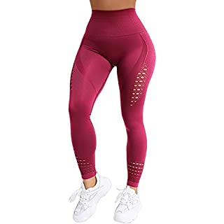 NORMOV High Waist Seamless Gym Leggings for Women Hollow Compression Workout Yoga Pants