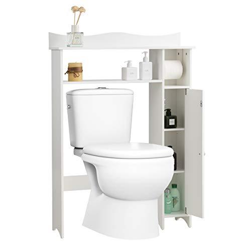 Giantex Over The Toilet Storage Rack for Bathroom W/Side Storage Cabinet and Adjustable Shelves, Bathroom Freestanding…