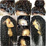 Lace Front Human Hair Wigs Curly Style Wig Natural Color (14inch, 130% lace front wig) by KRN
