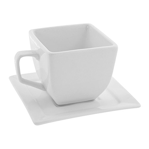 10 Strawberry Street Whittier 4 Oz Square Cup and Saucer, Set of 6, White White Breakfast Cup