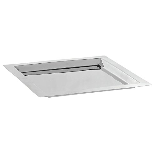 (Silver Serving Tray Square Stainless Steel with Mirror Finish - 11