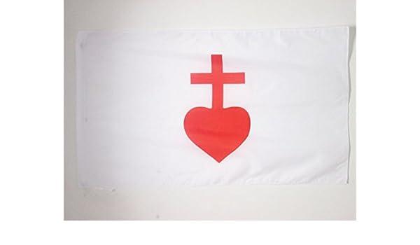 AZ FLAG Bandera del Corazon Sagrado DE JESÚS 150x90cm para Palo ...